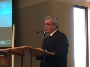 Nevada Chief Justice James Hardesty speaks at LEAN's Martin Luther King Jr. Holiday event at Lutheran Church of the Good Shepherd in Reno, Jan. 19, 2015.